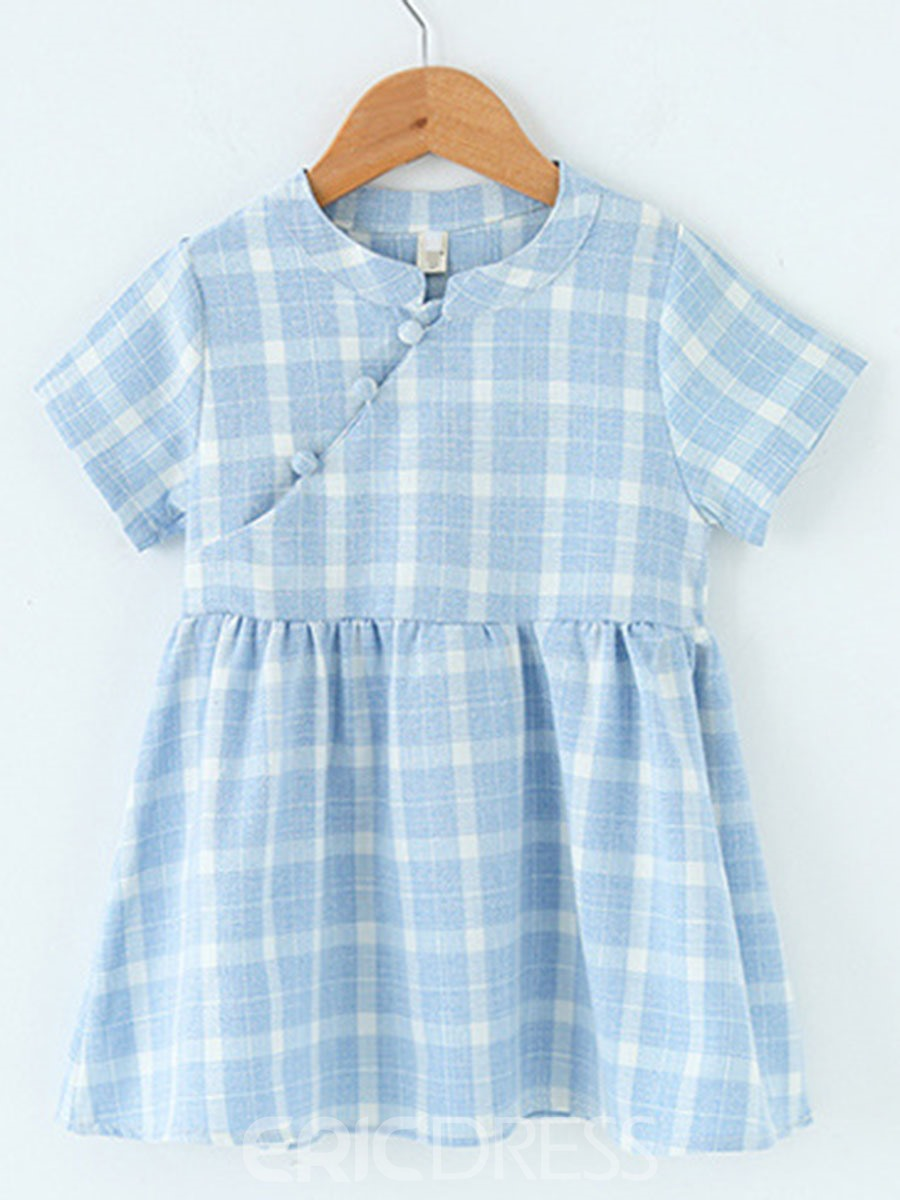 Ericdress A-Line Plaid Color Block Girl's Casual Dress