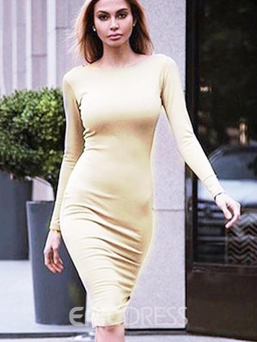 Ericdress Round Neck Zipper Long Sleeve Pullover Fall Dress