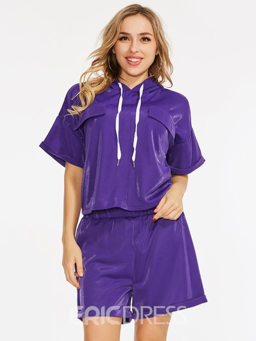 Plain Hooded Tee with Shorts Women's Two Piece Set
