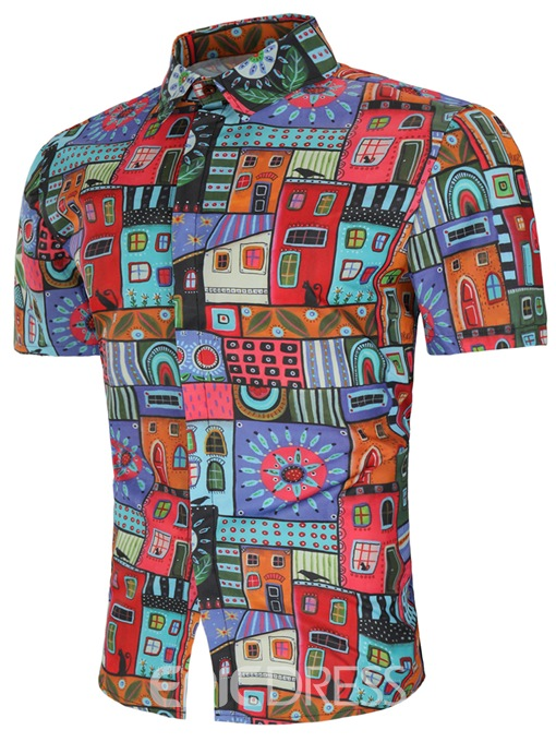 Ericdress Geometric Pattern Printed Slim Mens Short Sleeve Shirts