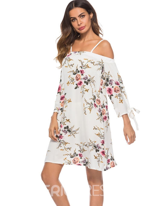 Ericdress White Floral Lace-Up Above Knee A-Line Dress
