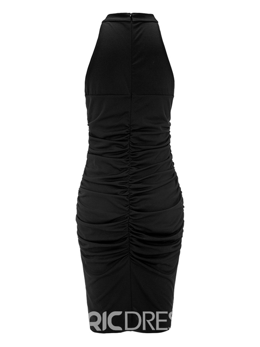 Ericdress Pleated Zipper Pullover Bodycon Dress