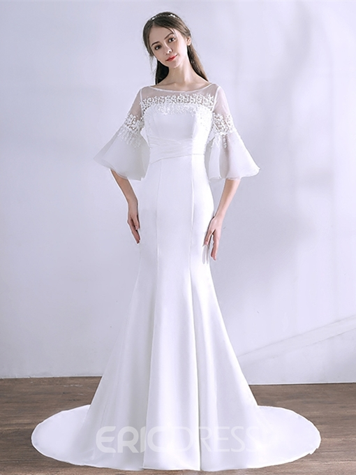 Ericdress 3/4 Sleeve Mermaid Evening Dress With Court Train
