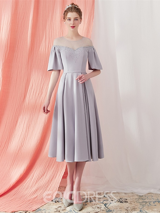 Ericdress Puffle Sleeve Tea Length A Line Prom Dress