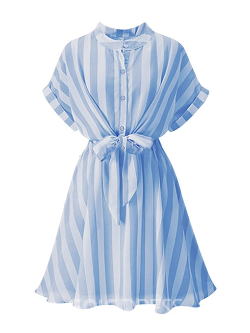 Ericdress Batwing Sleeve Single-Breasted Stripe A-Line Dress