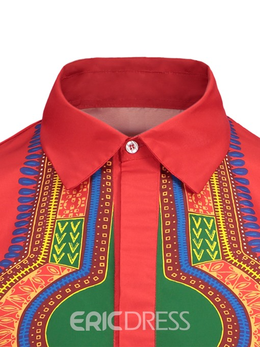 Ericdress Red Dashiki African Printed Mens Straight Shirts