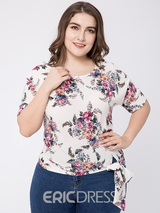 Ericdress Lace-Up Floral Slim Plus Size T-Shirt