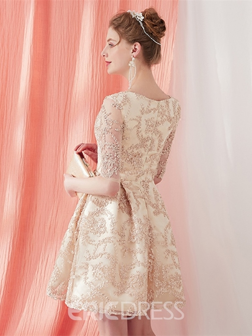 Ericdress A-Line Scoop Lace Half Sleeves Homecoming Dress