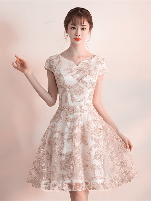 Ericdress A-Line Scoop Lace Cap Sleeves Homecoming Dress