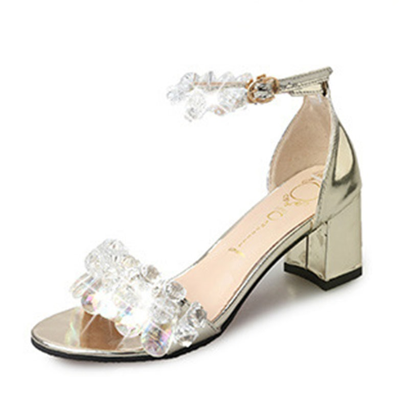 Ericdress Rhinestone Heel Covering Open Toe Chunky Sandals