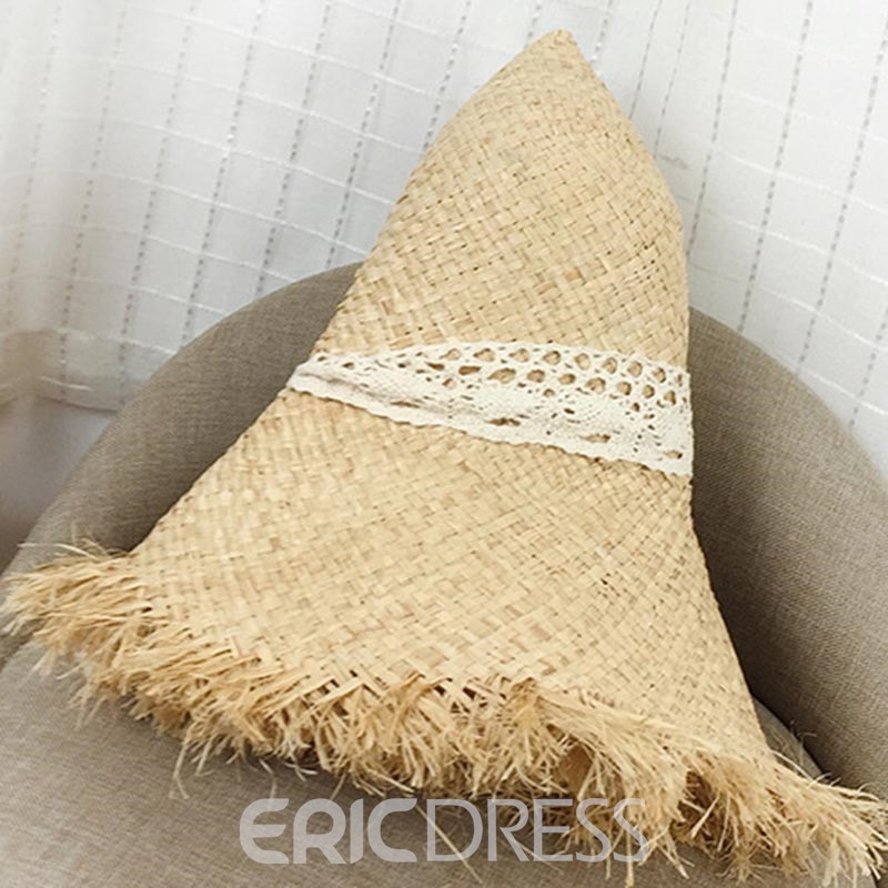 Ericdress Lafite Straw Lace Bind Sunhat