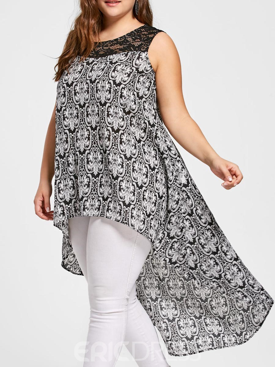 Ericdress Patchwork Lace Plus-Size Womens Top