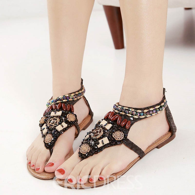 Ericdress Bohemian Beads Thong Block Heel Flat Sandals