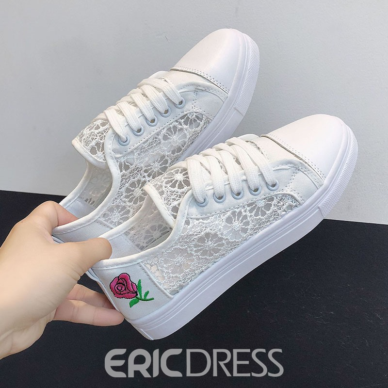 Ericdress Mesh Floral Embroidery Patchwork Women's Flats
