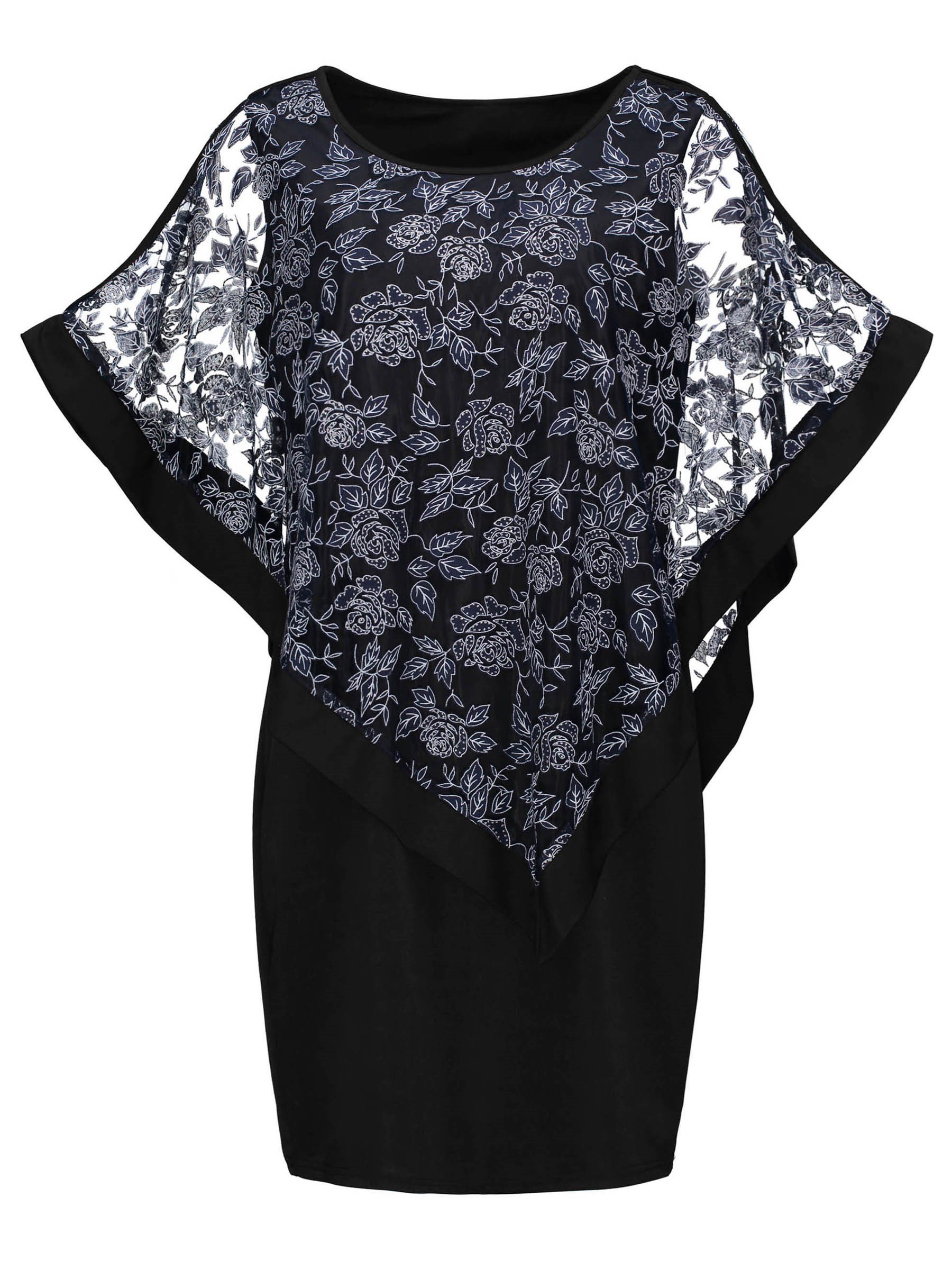 Ericdress Nude Floral Embroidery Batwing Sleeve Sheath Dress