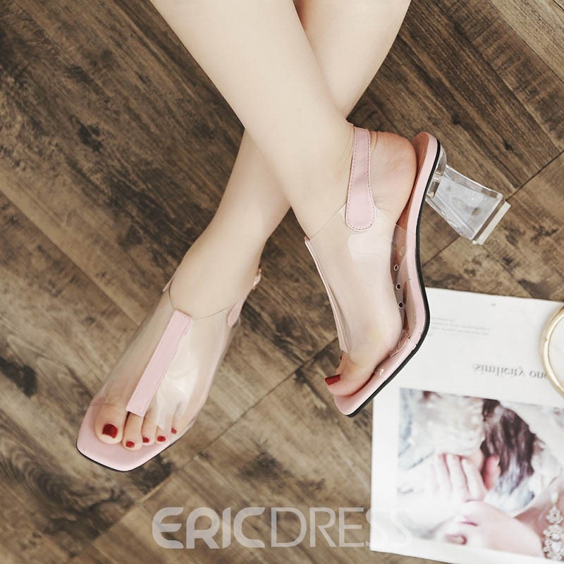 Ericdress Transparent Peep Toe Chunky Heel PVC Sandals