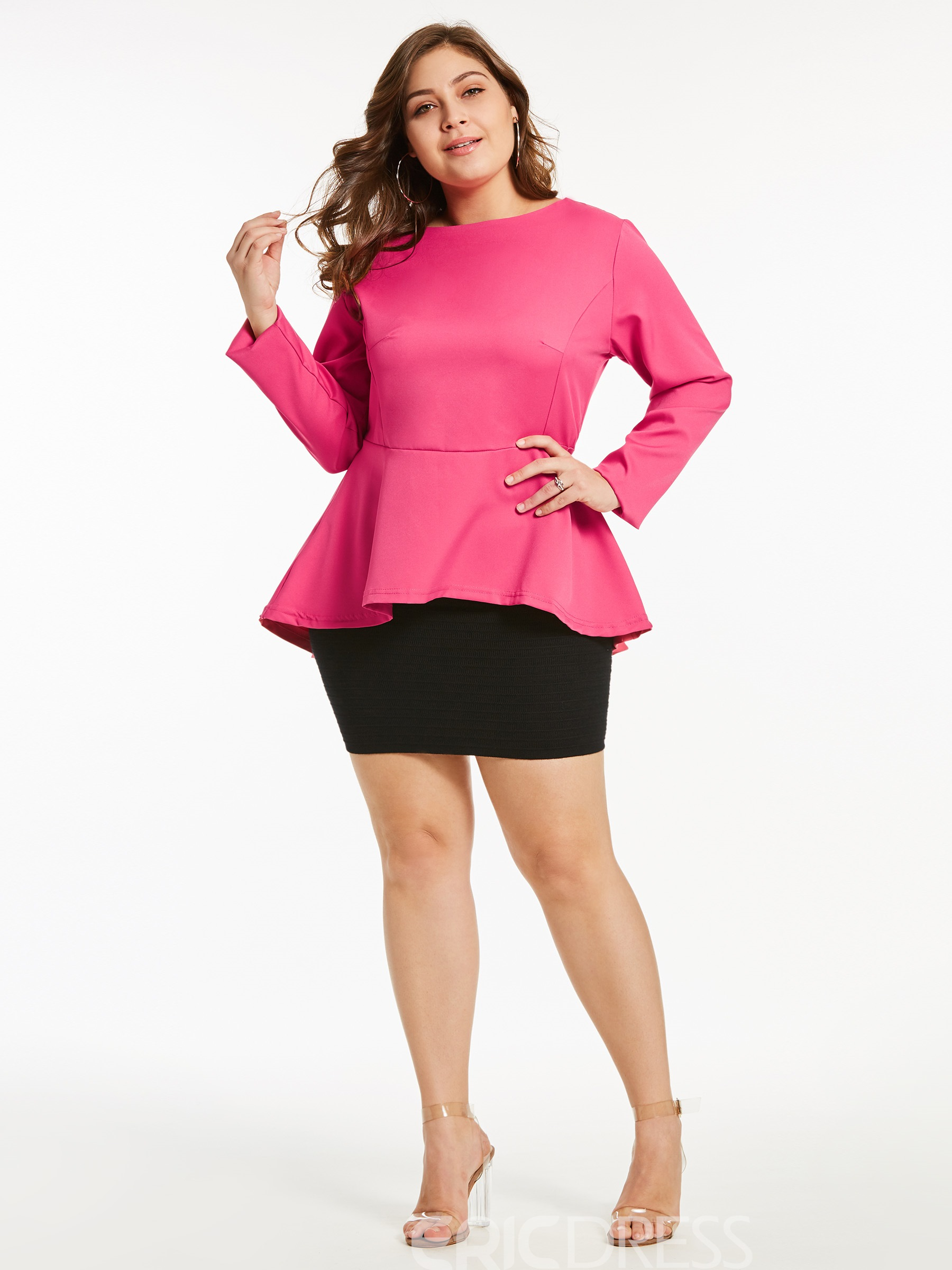 Ericdress Slim Asymmetric Ruffles Plus-Size Blouse