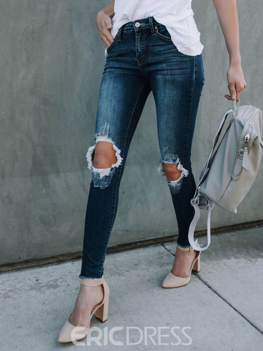 Ericdress Ankle Length Plain Ripped Women's Jeans