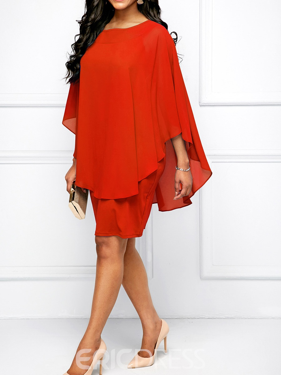 Ericdress Double-Layer Batwing Sleeve Pullover Bodycon Dress