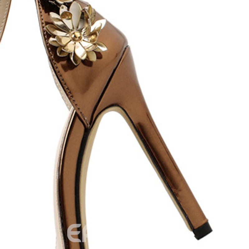 Ericdress Appliques Line-Style Buckle Open Toe Stiletto Sandals