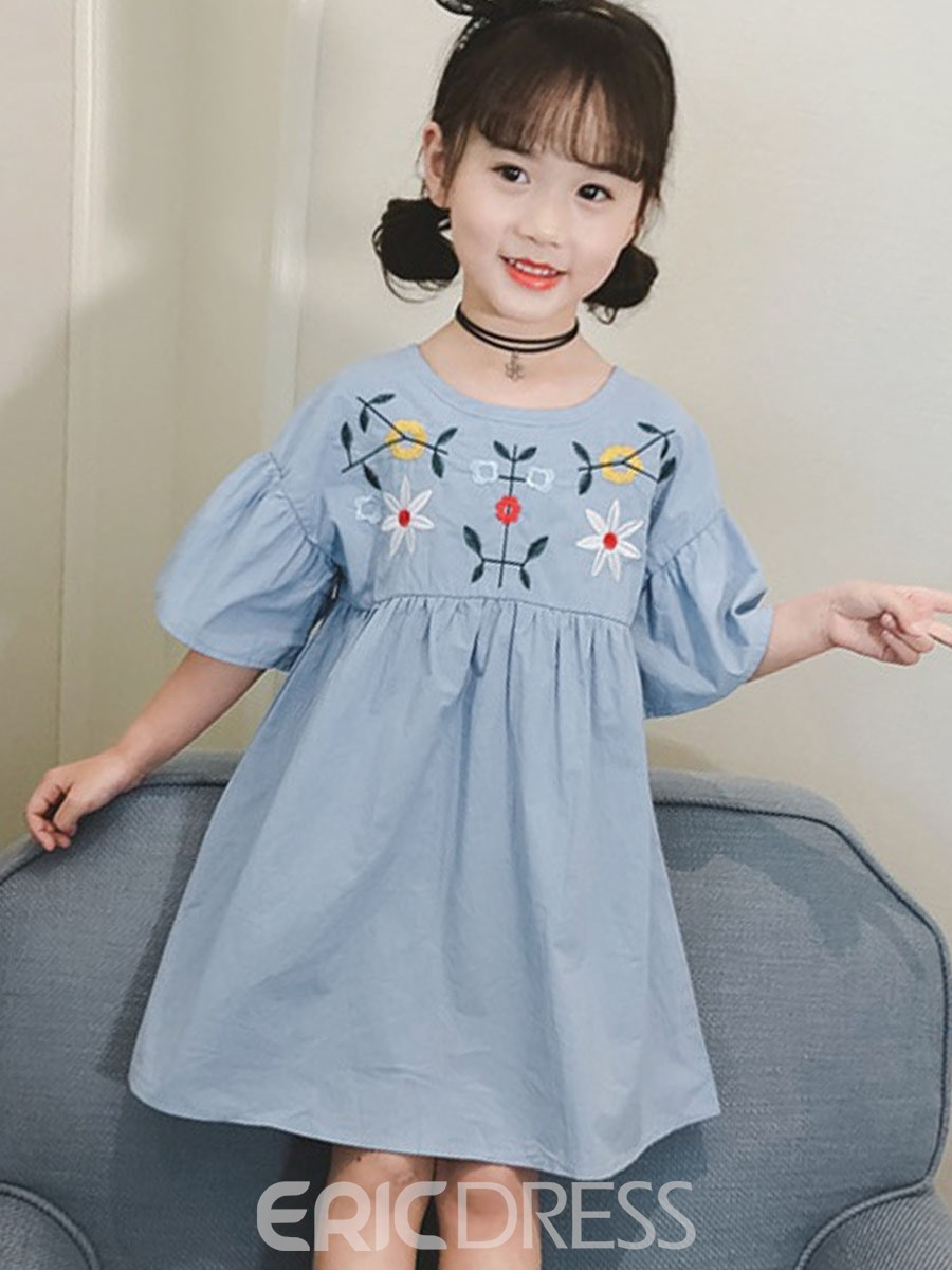 Ericdress Embroidery Floral Flare Sleeve Girl's Casual Dress