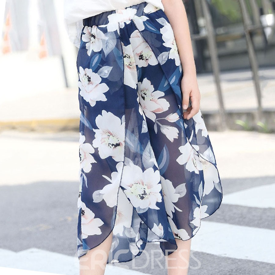 Ericdress Wide Legs Floral Printed Thin Girl's Chiffon Summer Pants