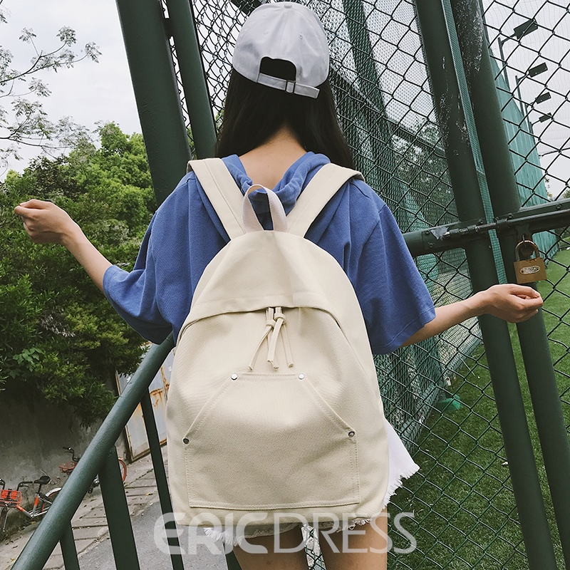 Ericdress Canvas Plain Backpack