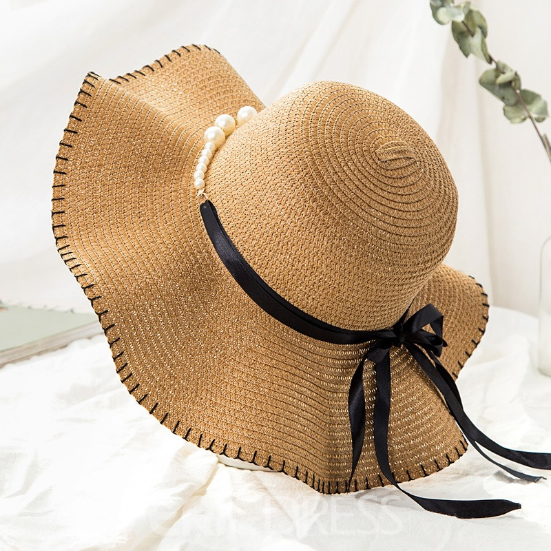 Ericdress Pearl Lace Up Summer Vacation Hat