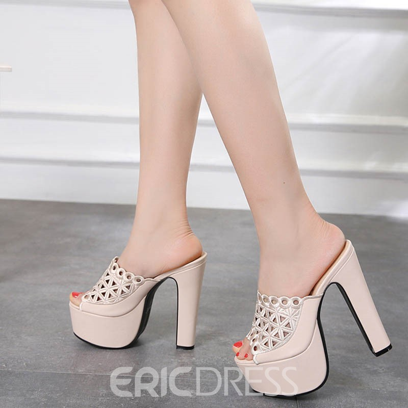 Ericdress Patchwork Hollow Platform Chunky Heel Mules Shoes