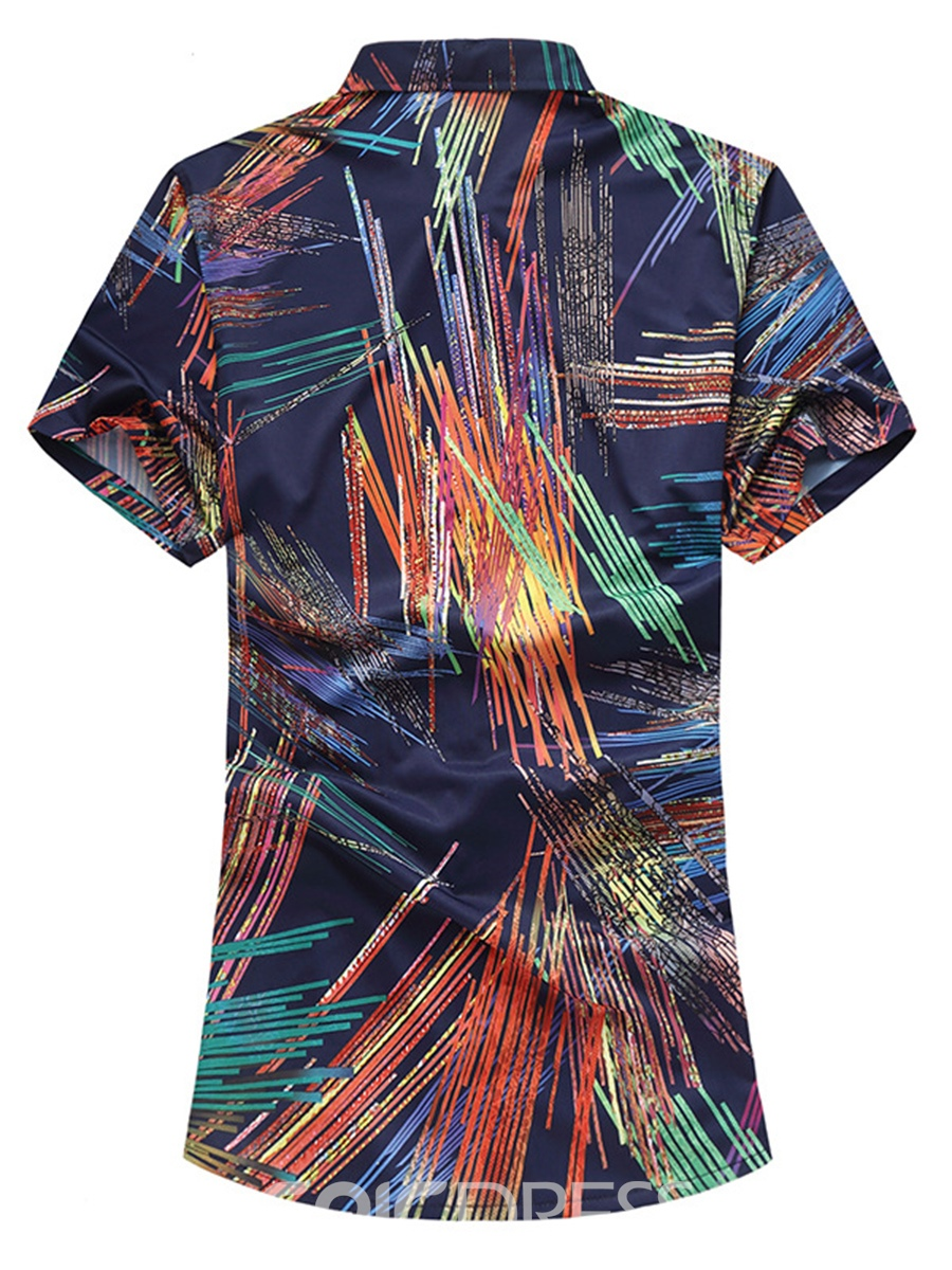 Ericdress Color Block Printed Plus Size Mens Short Sleeve Shirts