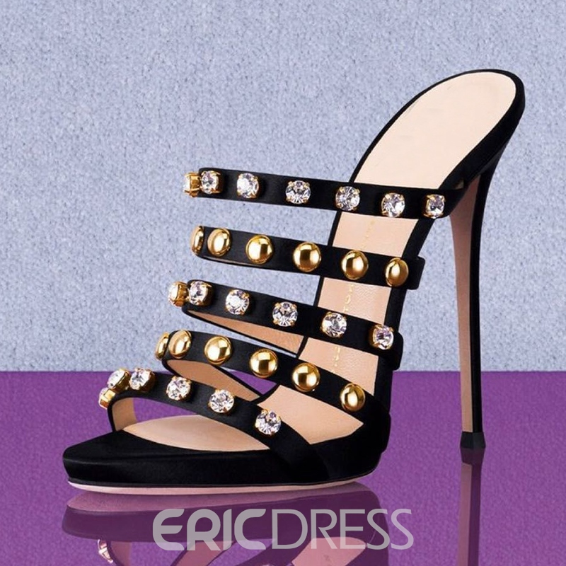 Ericdress Rhinestone Stiletto Heel Mules Shoes with Rivet