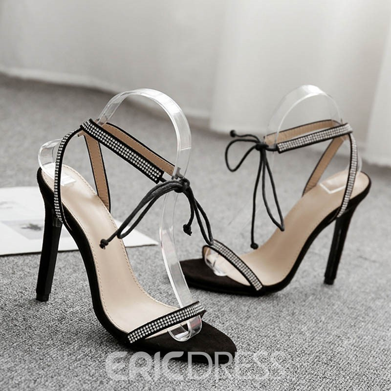 Ericdress Rhinestone Lace-Up Ankle Strap Stiletto Sandals