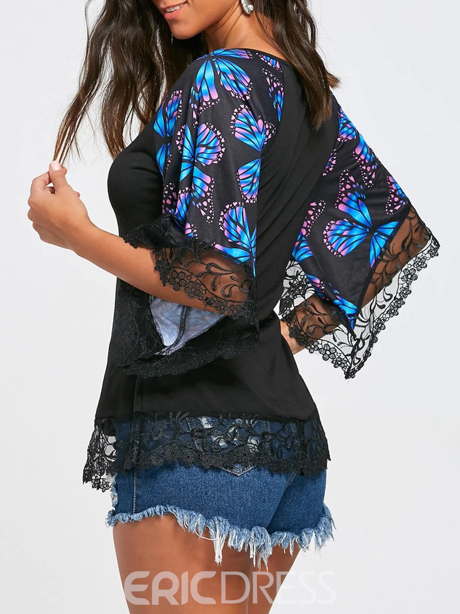 Ericdress Patchwork Lace Print Womens Top