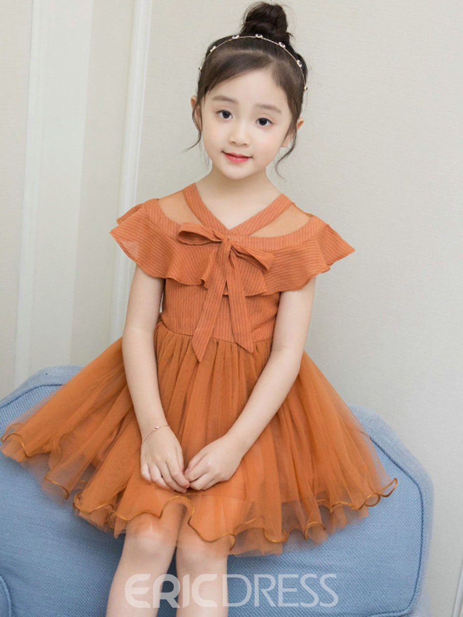 Ericdress V-Neck Cap Sleeve Mesh Bowknot Girl's Casual Dress