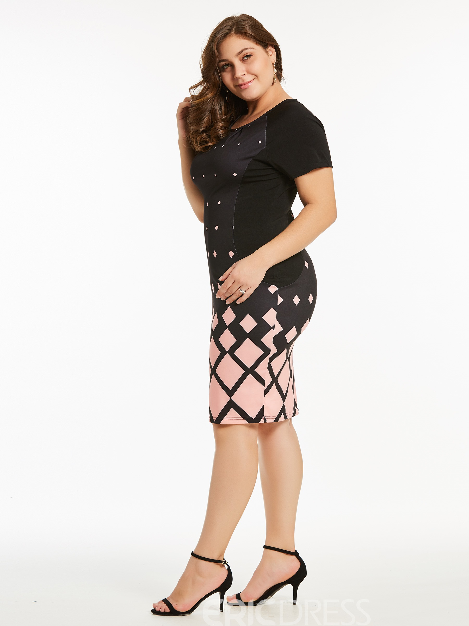 Ericdress Twilled Satin Gingham Color Block Bodycon Dress