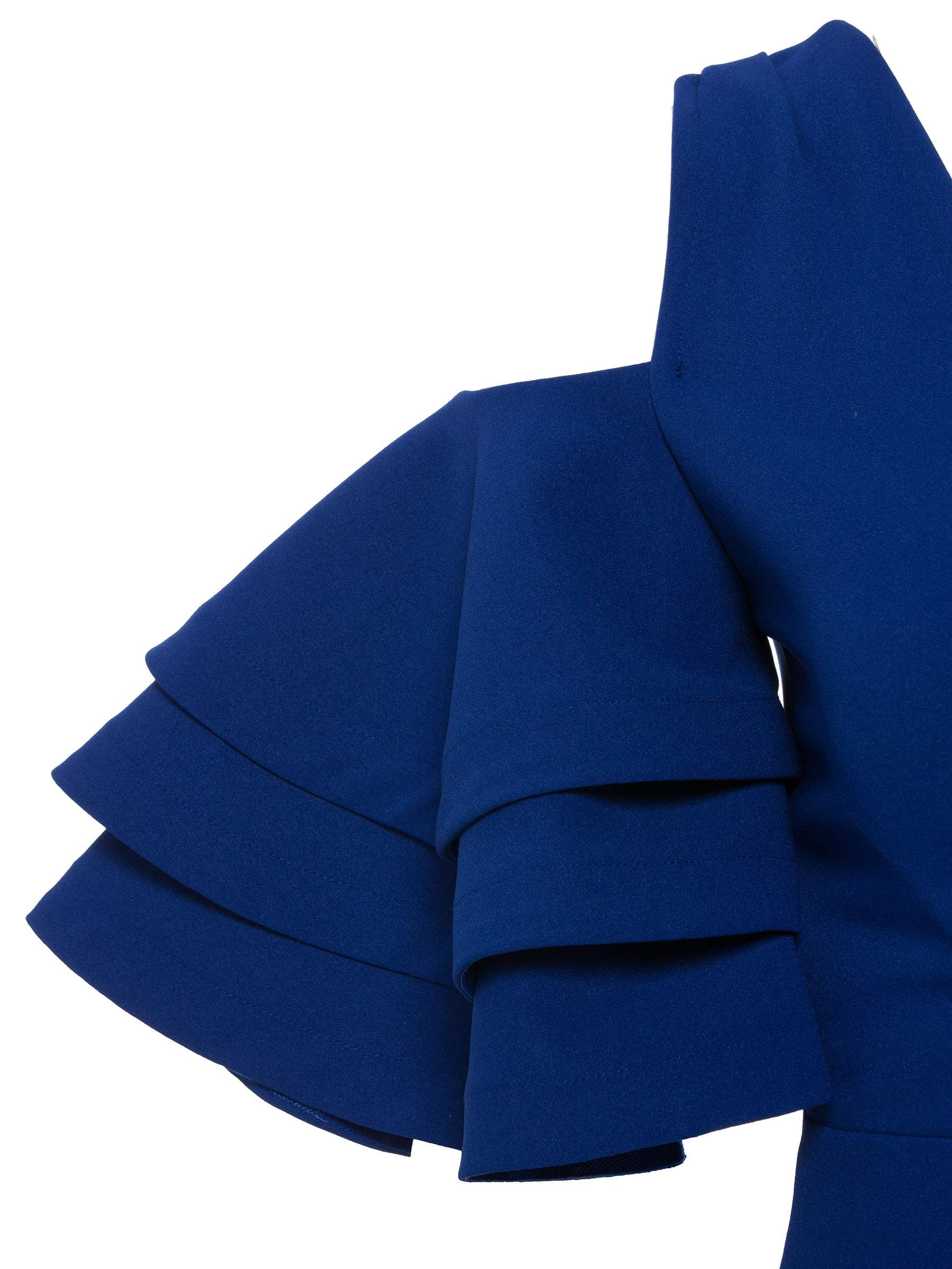 Ericdress Royal Blue V-Neck Ruffles Backless Patchwork Bodycon Dress