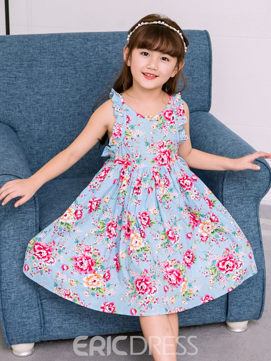 Ericdress A-Line Floral Printed Backless Girl's Casual Dress
