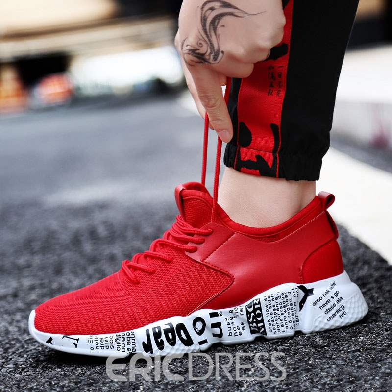 Ericdress Lace-Up Patchwork Mesh Men's Athletic Shoes