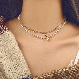 Ericdress Multilayer Pearl Bowknot Choker Necklace