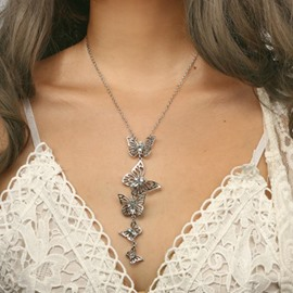 Ericdress Butterfly Sweater Chain Necklace