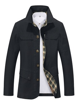 Ericdress Plain Lapel Button Thick Slim Mens Casual Jacket