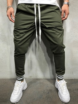 Ericdress Olive Plain Lace Up Slim Mens Casual Sports Pencil Pants