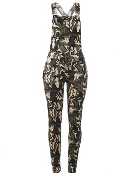 Ericdress Camouflage Pocket Skinny Women's Jumpsuits