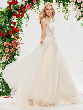 Ericdress A Line Tulle Color Beaded Wedding Dress