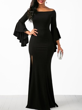 Ericdress Black Ruffle Sleeve Plain Women's Maxi Dress