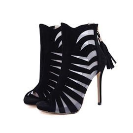 Ericdress Peep Toe Stiletto Heel Women's Ankle Boots