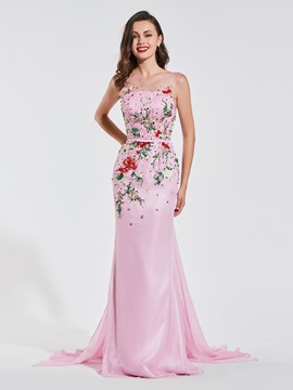 Ericdress Scoop Neck Beaded Mermaid Evening Dress With Sweep Train