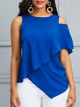 Ericdress Asymmetric Ruffles Patchwork Short Sleeve T-shirt