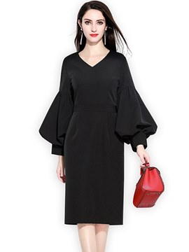 Ericdress Lantern Sleeve Office Lady Women's Dress