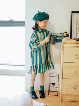 Ericdress Striped Peter Pan Collar A-Line Girl's Long Sleeve Dress